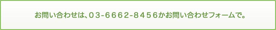 お問い合わせは、03-6662-8456かお問い合わせフォームで。
